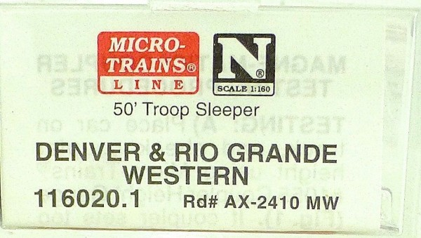 Micro Trains Line 116020.1 D&RGW Troop Sleeper AX-2410 MW 1:160 OVP #F å *