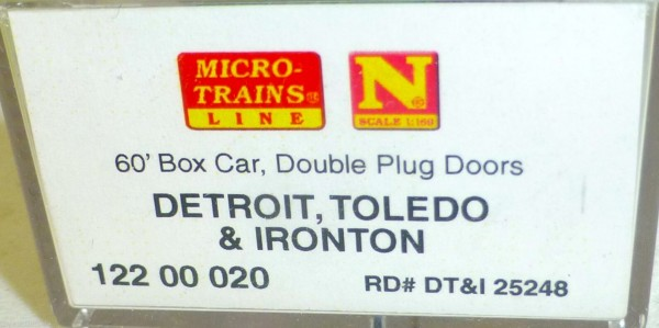 DT&I 60 Box Car Double Plug Doors Micro Trains 102 00 050 N 1:160 HU3 å