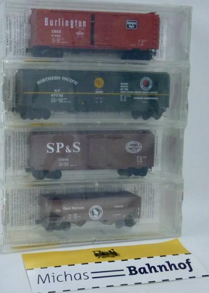 4x Fallen Flags BN Merger CB&Q NP SP&S GN Micro Trains Line 22102 N 1:160 HS4 å