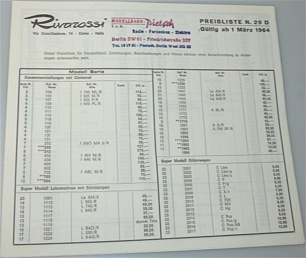 Rivarossi Preisliste N.29 D 1964 å