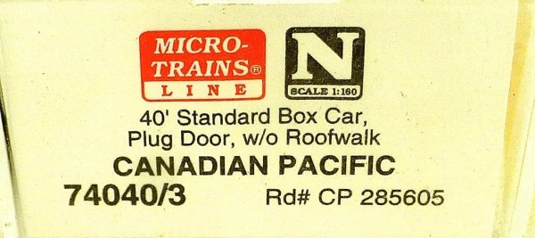 Micro Trains Line 74040/3 Canadian Pacific 285605 40´ Box Car 1:160 OVP #E å *