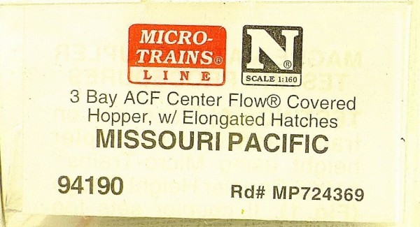 Micro Trains Line 94190 Missouri Pacific 3 Bay ACF Center Flow Hopp 1:160 #F å*