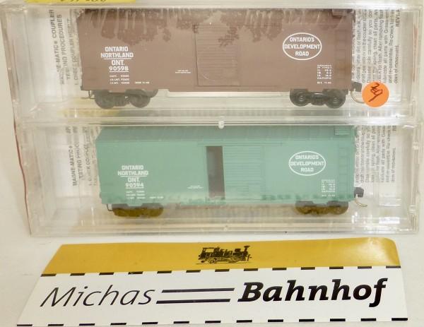2-tlg Micro Trains 20376-2 Ontario Northland 40' Standard Box Car OVP 1:160 #Z9 å