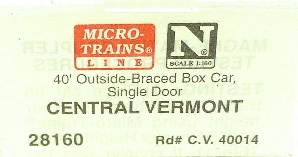 40´ Outside Br Boxcar CENTRAL VERMONT 40014 Micro Trains Line 28160 N 1:160 C å*