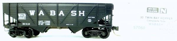 Micro Trains Line 57060 Wabash 38157 33' Twin Bay Hopper 1:160 OVP #i135 å