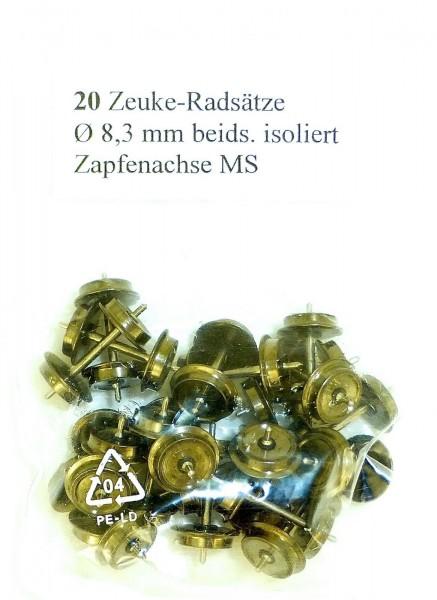 20x Zeuke Radsätze 8,3mm Durchmesser Zapfenachse beids isoliert MS 1:120 TT å *