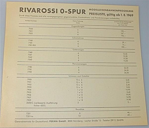 Rivarossi Spur 0 Preisliste 1969 å