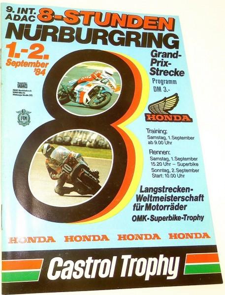 1.-2. September 84 9.Int. ADAC 8-Stunden Nürburgring PROGRAMMHEFT å *
