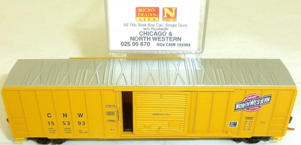 Cicago North W 50 Rib Side Box Car Single Door MTL 025 00 670 N 1:160 OVP HU3 å