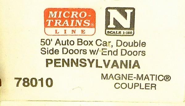 Micro Trains Line 78010 Pennsylvania 50' Auto Box Car Double Doors 1:160 #F å *