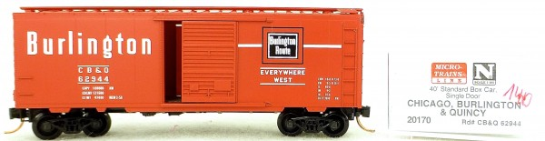 Micro Trains Line 20170 Burlington CB&Q 62944 40' St. Boxcar 1:160 OVP #H140 å