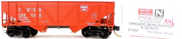 Micro Trains Line 57020 CB & Q 194328 33' Twin Bay Hopper 1:160 OVP #i146 å