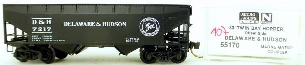 Micro Trains Line 55170 Delaware Hudson 7217 33' Twin Hopper OVP 1:160 #K107 å