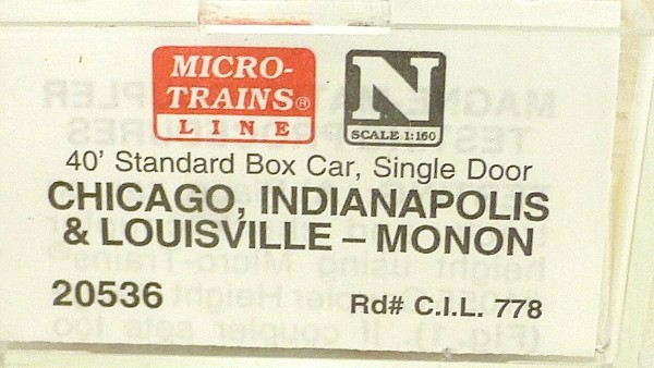 40´ St Boxcar MONON C.I.L. 778 Micro Trains Line 20536 1:160 D å *