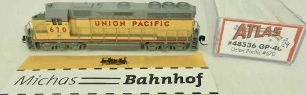 GP-40 Union Pacific 670 Atlas 48536 Diesellok N 1:160 OVP ∆29 å