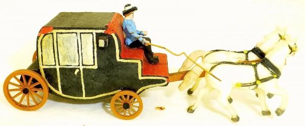 Kutsche mit Kutscher Holz Preiser 50er Jahre 1:87 H0 GD1 PR243 å *