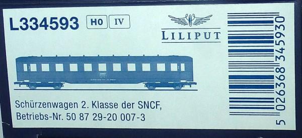 SNCF Schürzenwagen 2te Kl 50 87 29-20 008-1 Ep4 Liliput L334593 H0 1:87 OVP *