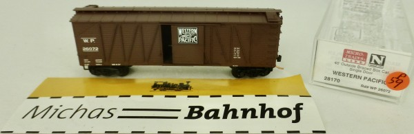 Western Pacific 40' Outside Braced Box Car Micro Trains Line 28170 1:160 P59 å