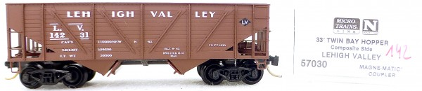 Micro Trains Line 57030 Lehigh Valley 14231 33' Twin Bay Hopper 1:160 OVP #i142 å