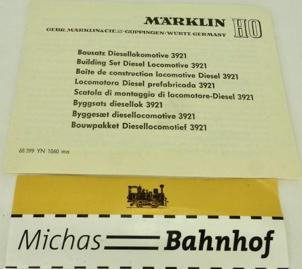 3921 Bausatz Diesellokomotive Bausatz Märklin Anleitung 68 399 YA 1060 ma å