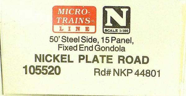 Micro Trains Line 105520 Nickel Plate Road 50' Gondola low cov 1:160 OVP #F å*