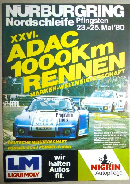 23.-25.Mai 80 XXVI ADAC 1000 Km Rennen WM Nürburgring PROGRAMMHEFT å II01 *