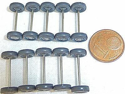 10 Achsen m Rädern 18mm 8mmø Wiking 1:87 PKW silberne Radkappe 70er GC3 å *