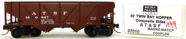 Micro Trains Line 57010 ATSF 180847 33' Twin Bay Hopper 1:160 OVP #i149 å