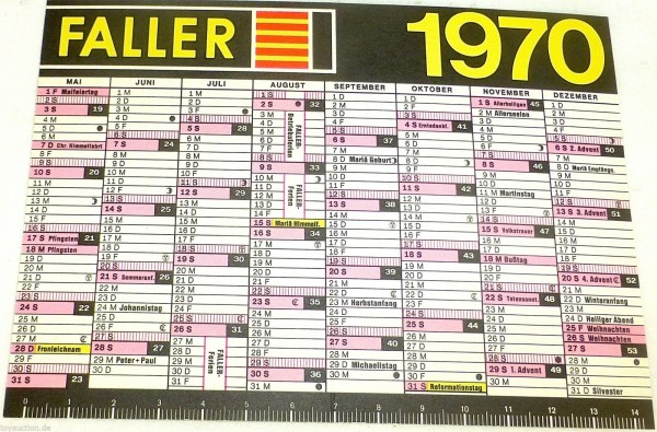Faller Modellbau Kalender 1970 Modellbau Zauber einer Welt im Kleinen H0 å *