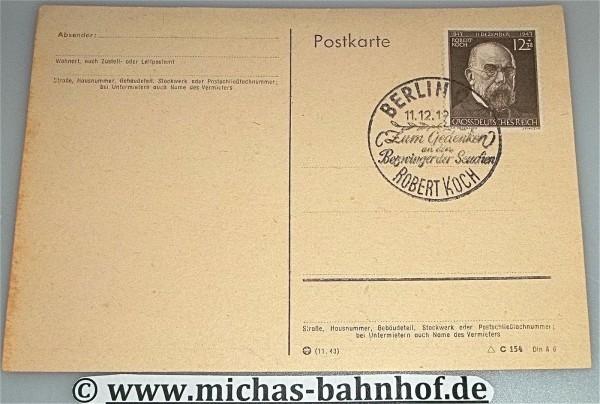 Robert Koch Bezwinger der Seuchen Sondermarke Grossdeutsches Reich 11.12.1943 *