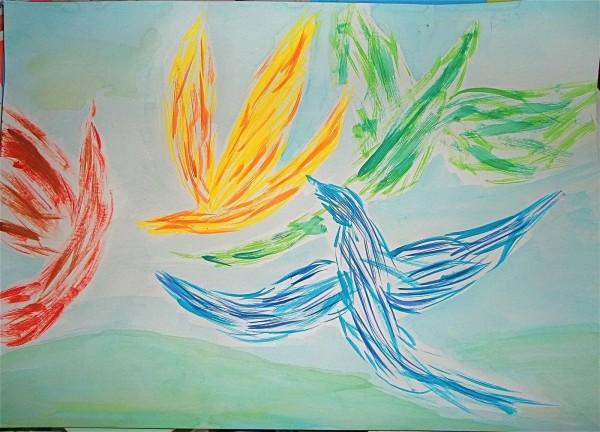 Feuer und Friedensvögel Tusche (A.-T.D. 2012) å