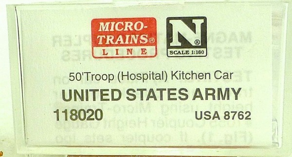 Micro Trains Line 118020 United States Army 50' Troop Kitchen 1:160 OVP #F å *