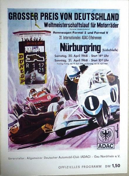 20. 21. April 1968 Grosser Preis v Deutschland Nürburgring PROGRAMMHEFT å IV03 *