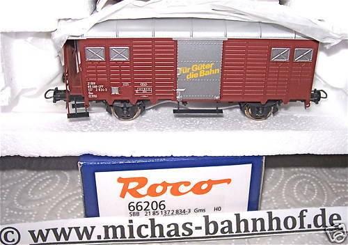 SBB Gms Für Güter Bahn gedeckter Güterwagen Roco 66206 OVP 1:87 HB3 µ