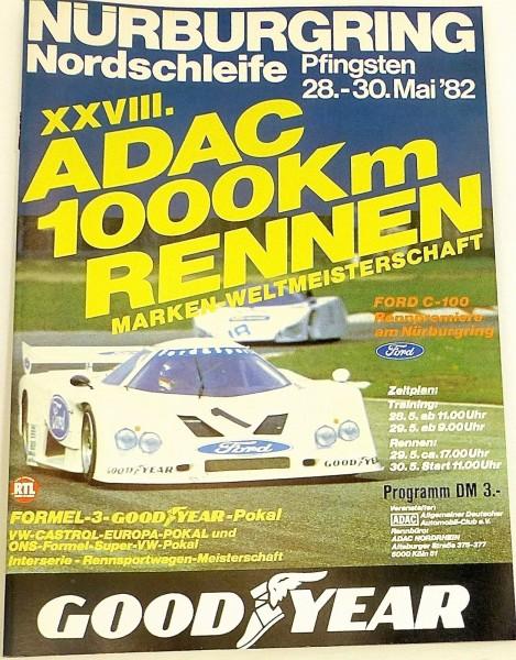 28.-30.Mai 82 XXVII ADAC 1000 Km Rennen WM Nürburgring PROGRAMMHEFT å X02 *