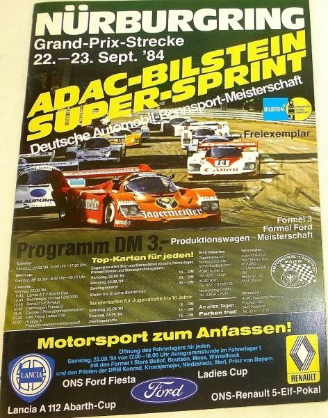 22./23. Sept.84 ADAC Bilstein Super Sprint Nürburgring PROGRAMMHEFT å V04 *