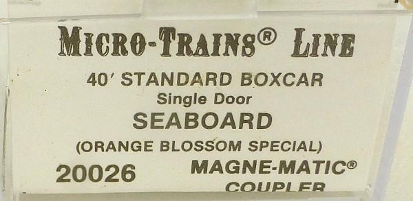 40´ Standard Boxcar Single Door SEABOARD Micro Trains Line 20026 N 1:160 D å *
