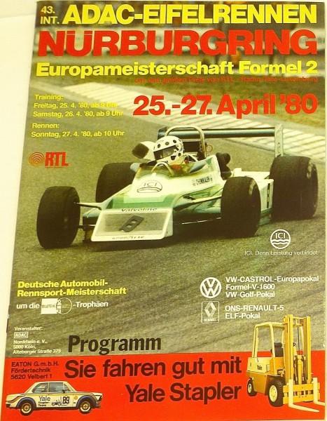 25.-27. April 80 43. Int ADAC EifelRennen Nürburgring PROGRAMMHEFT I08 å*