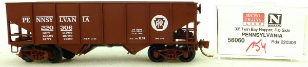Micro Trains Line 56060 Pennsylvania 220306 33' Twin Hopper OVP 1:160 #K154 å