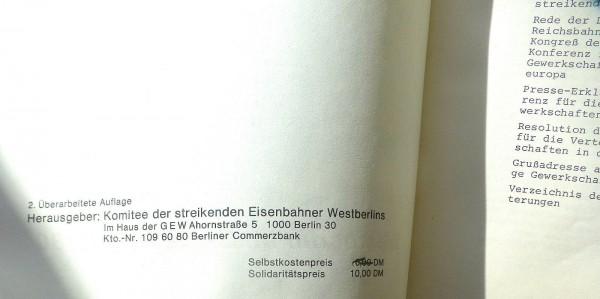 Der Reichsbahn Streik 09/1980 Komitee streikenden Eisenbahner Westberlins Hi2 å√