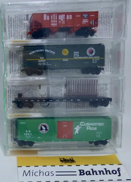 4x Fallen Flags S.P.&S. G.N. N.P. C.B.&Q. Micro Trains Line 21212 N 1:160 HS3 å