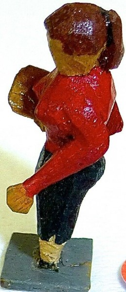 Dame mit Handtasche Preiser (?) Holzfiguren 50er Jahre H0 1:87 PH020 å *