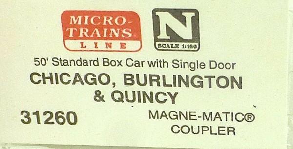 50´ Standard Boxcar BURLINGTON C&S 924 Micro Trains Line 31260 N 1:160 C å*