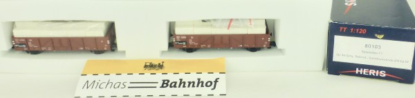 2 x Güterwg beladen DR EpIV Teilmod Linz Stahlbord Heris 80103 TT 1:120 NEU HN2 å