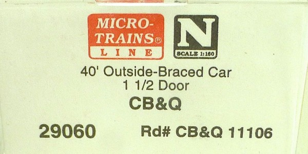 40´ Outside Braced Boxcar CB & Q 11106 Micro Trains Line 29060 N 1:160 C å*