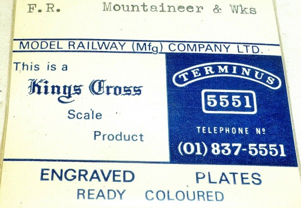 F.R. Mountaineer Wks Engraved Plates Model Railway Kings Cross Scale Product å *