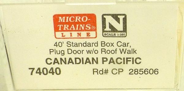 Micro Trains Line 74040 Canadian Pacific 285606 40´ Box Car 1:160 OVP #E å *