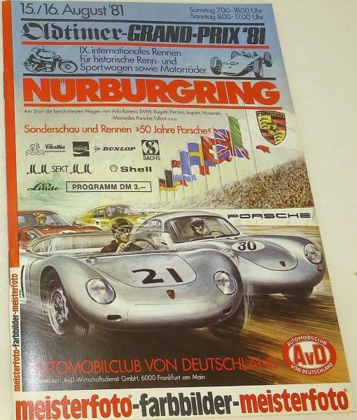 15./16. AUGUST 81 Oldtimer Grand Prix IX Rennen Nürburgring PROGRAMMHEFT å V08*