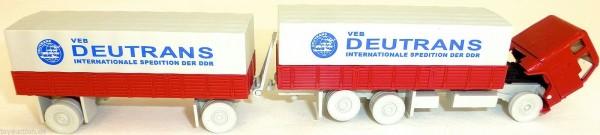 DEUTRANS VEB Spedition blau DDR F 88 Hängerzug Pritsche Plane H0 1:87 UE2 å