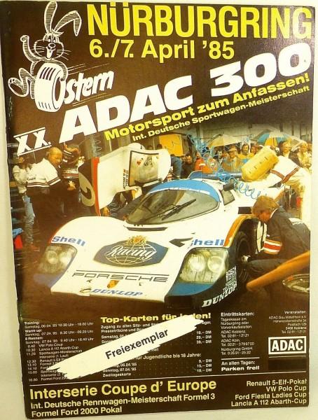 6. / 7. April 85 XX ADAC 300 Sportwagen Nürburgring PROGRAMMHEFT VIII05 å *